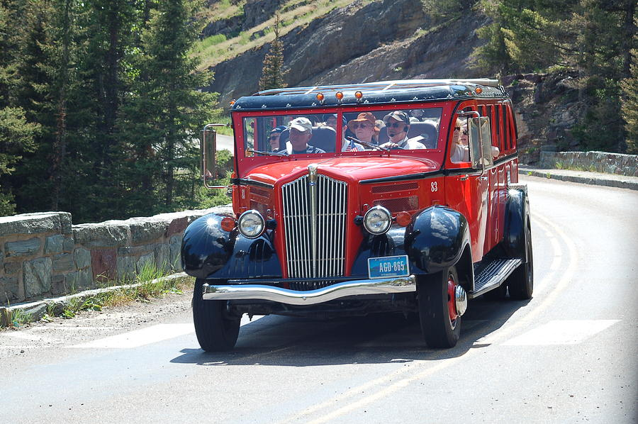 Glacier National Park Photograph - Glacier Red Bus by D Nigon