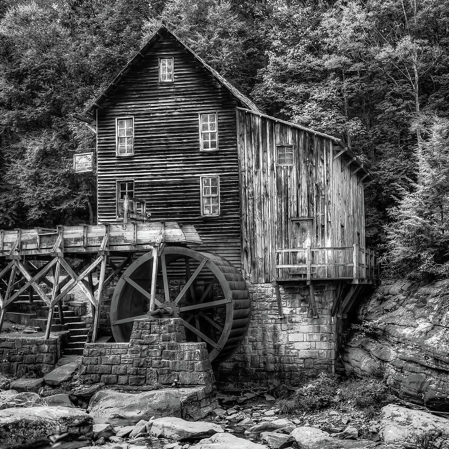America photograph glade creek grist mill 1x1 black and white west virginia by gregory