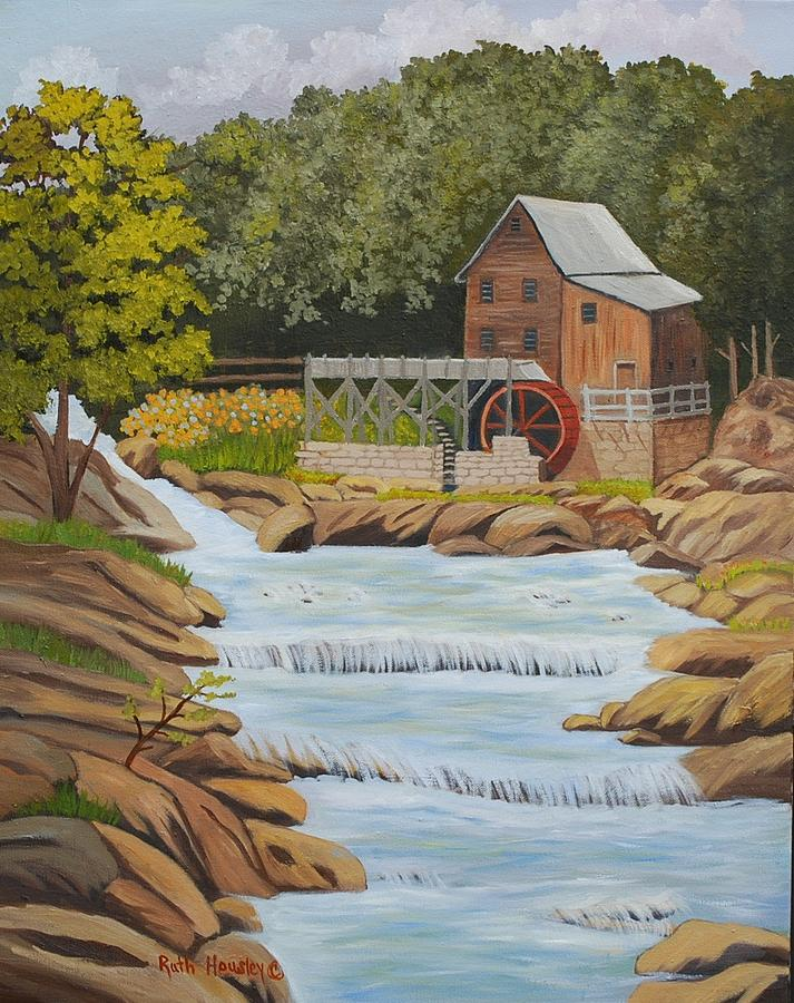 Landscapes Painting - Glade Creek Grist Mill West Virginia Sold by Ruth  Housley