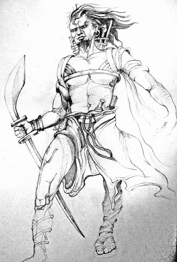 Gladiator Drawing by Satyabrata Adhikary