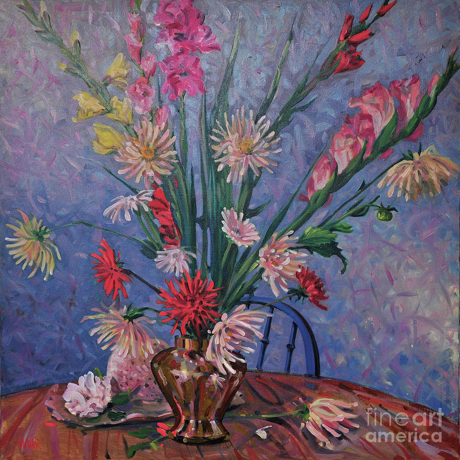 Floral Painting - Gladiolas And Dahlias by Donald Maier