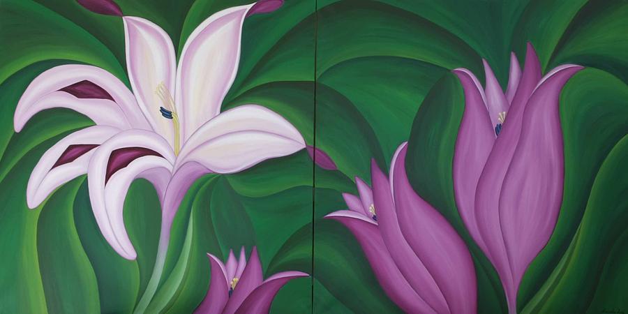Flower Painting - Gladiolus Carneus by Marinella Owens