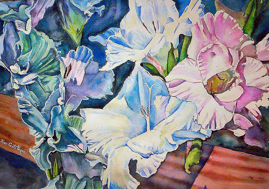 Gladiolas  Painting - Glads On The Deck by June Conte  Pryor