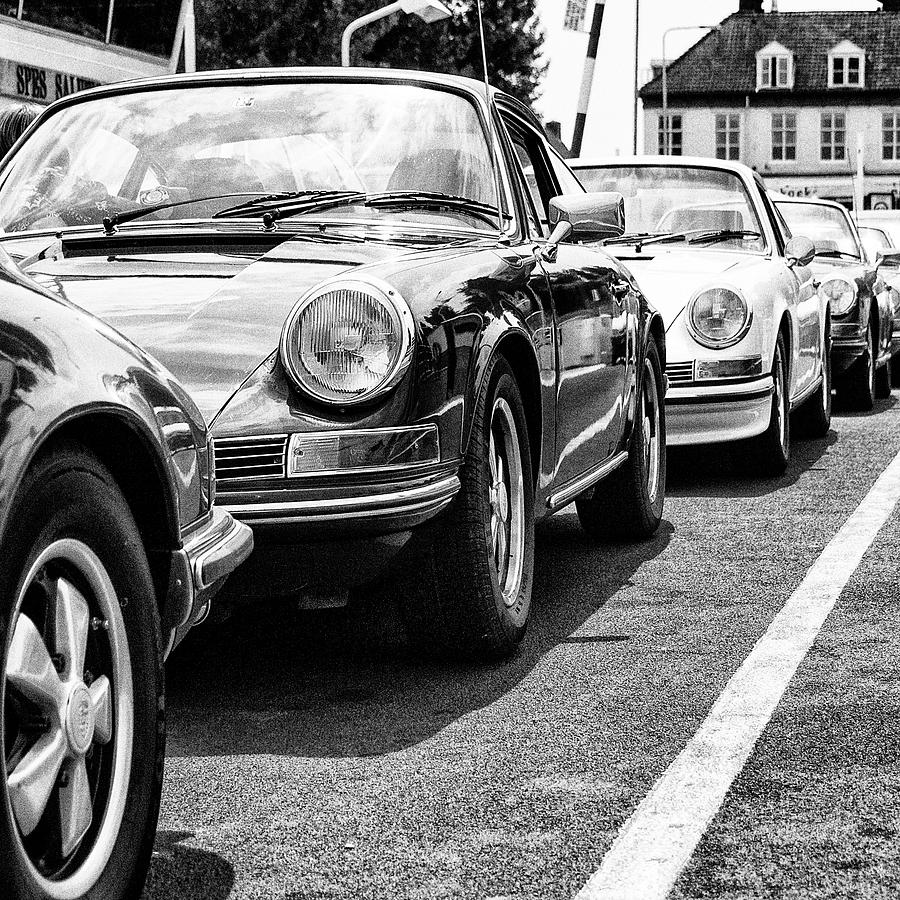 Glamourous Porsches on a ferry bw by 2bhappy4ever