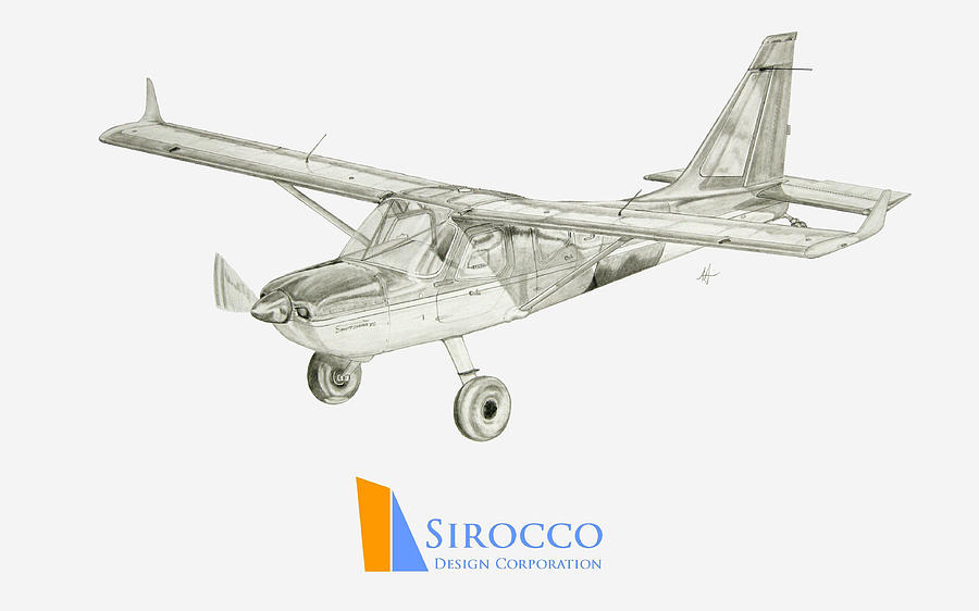 Airplane Drawing - Glasair Sportsman Tc With Sirocco Design Corp. Winglets Logo 3 by Nicholas Linehan