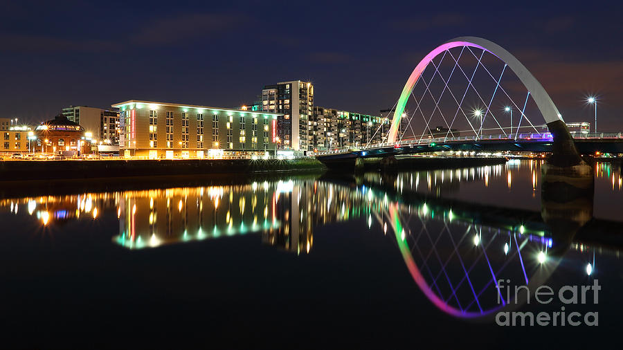 Glasgow Clyde Arc Bridge at Twilight by Maria Gaellman