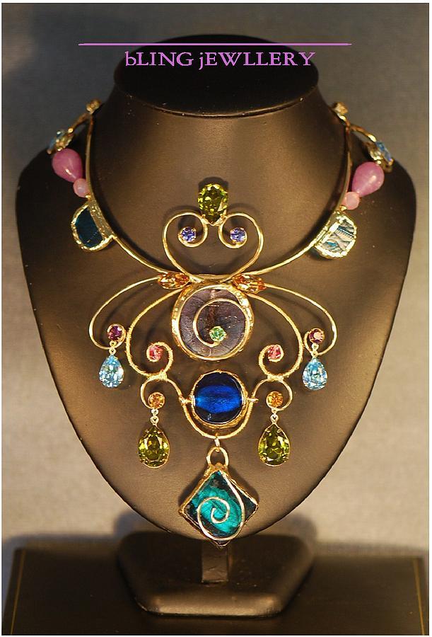 Swarovski Crystal Jewelry - Glass And Crystal Butterfly Art Necklace by Janine Antulov