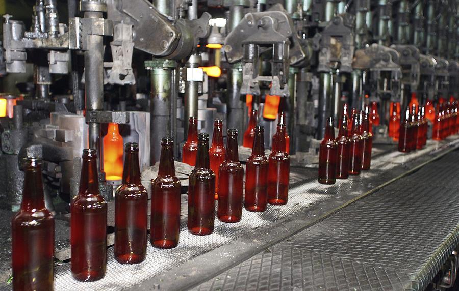 Glass Photograph - Glass Bottle Production Line by Ria Novosti