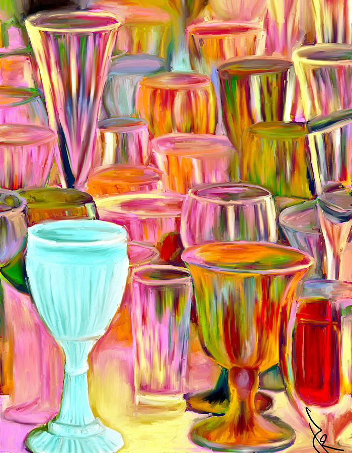Glasses Painting - Glass Collection by Jude Reid