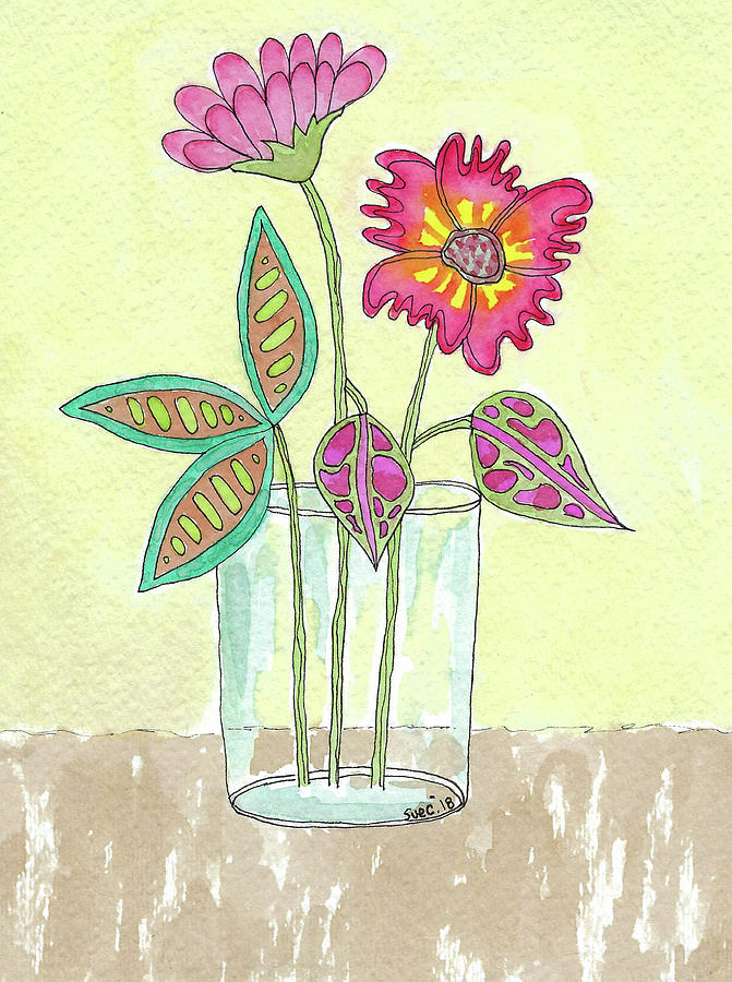 Watercolor And Ink Painting - Glass Of Flowers by Susan Campbell
