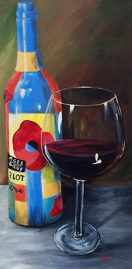 Glass Of Merlot   Painting by Torrie Smiley