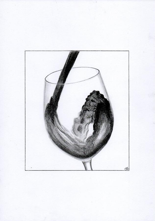 Wine Drawing - Glass Of Wine by Eniko Tanyi