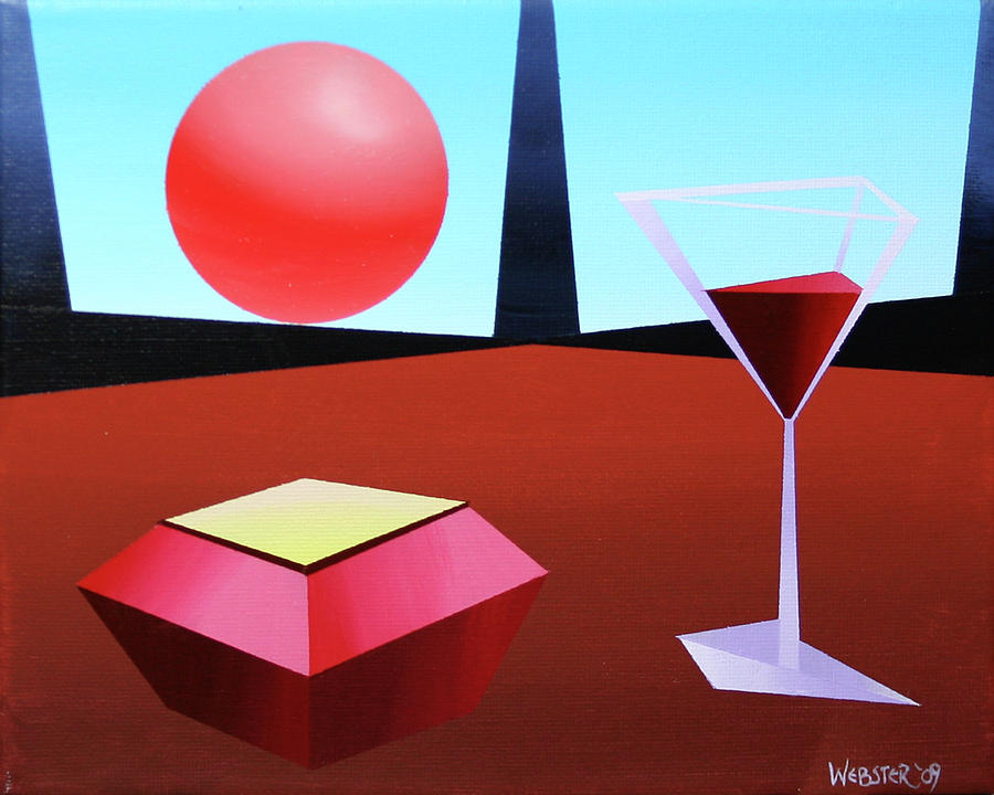Abstract Painting - Glass Of Wine On Planet X by Mark Webster