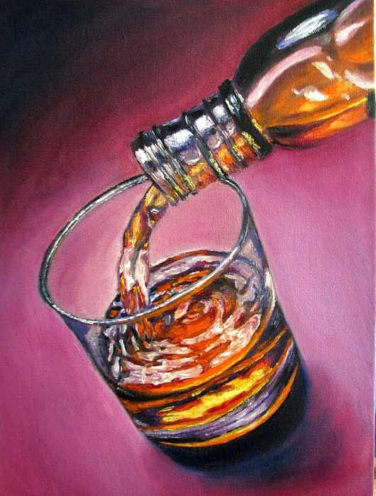 Glass Of Wine Painting - Glass Of Wine Original Oil Painting by Natalja Picugina