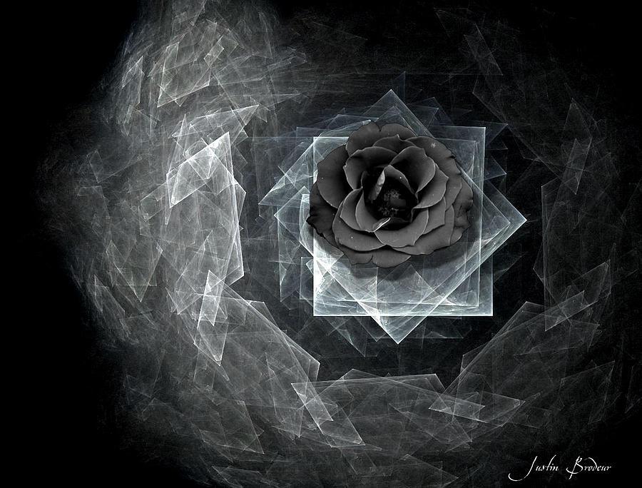 Landscape Digital Art - Glass Rose by Justin D B