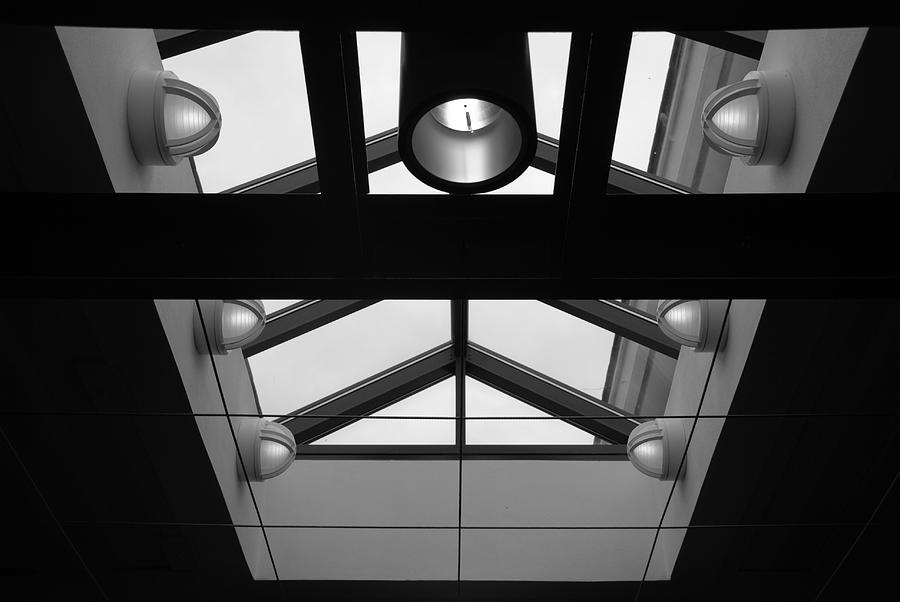 Black And White Photograph - Glass Sky Lights by Rob Hans