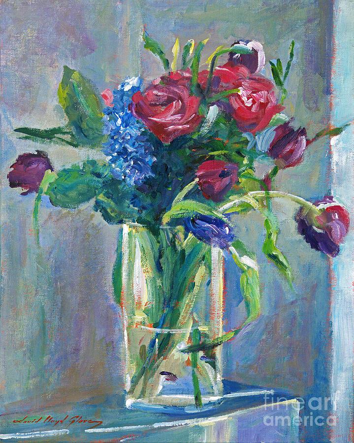 Still Life Painting - Glass Vase On Sill by David Lloyd Glover