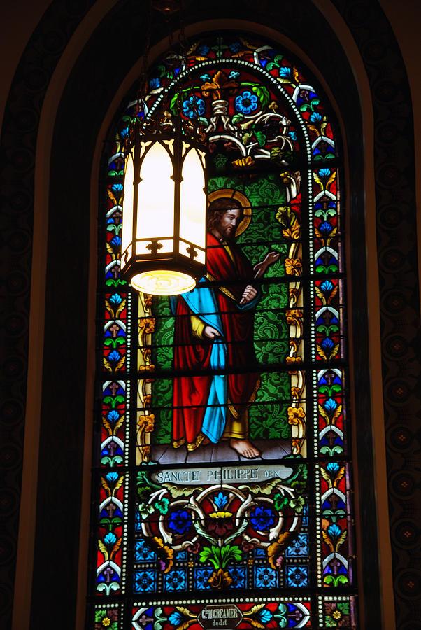 Saint Francis Photograph - Glass Window Of Saint Philip In The Basilica In Santa Fe  by Susanne Van Hulst