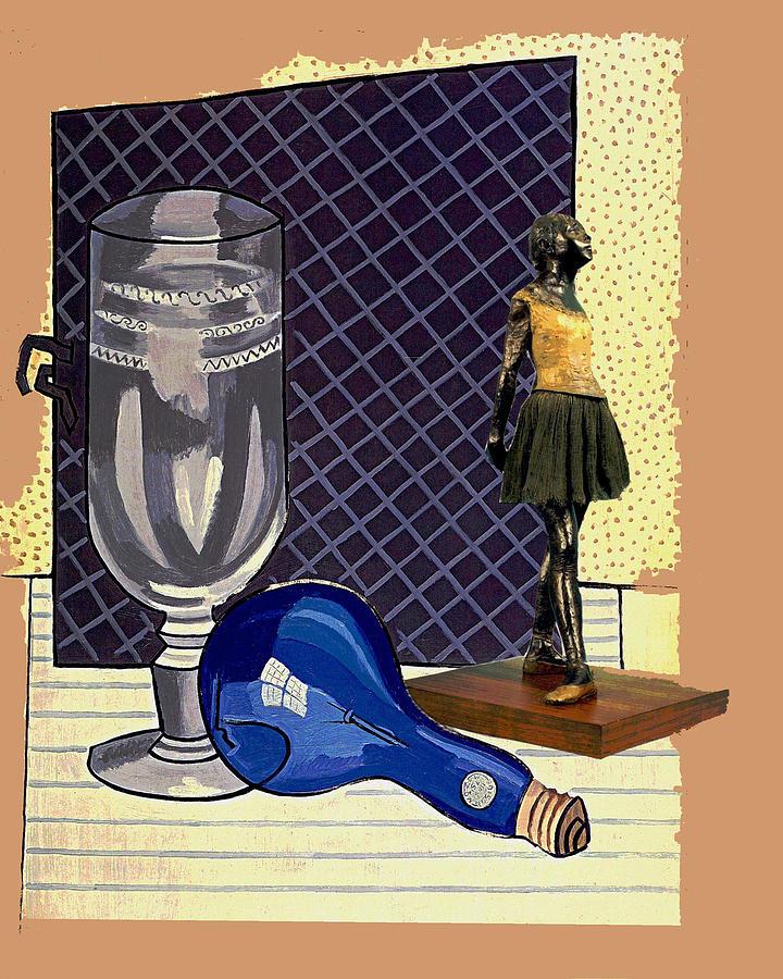 Collage Digital Art - Glass With Ballerina by John Vincent Palozzi