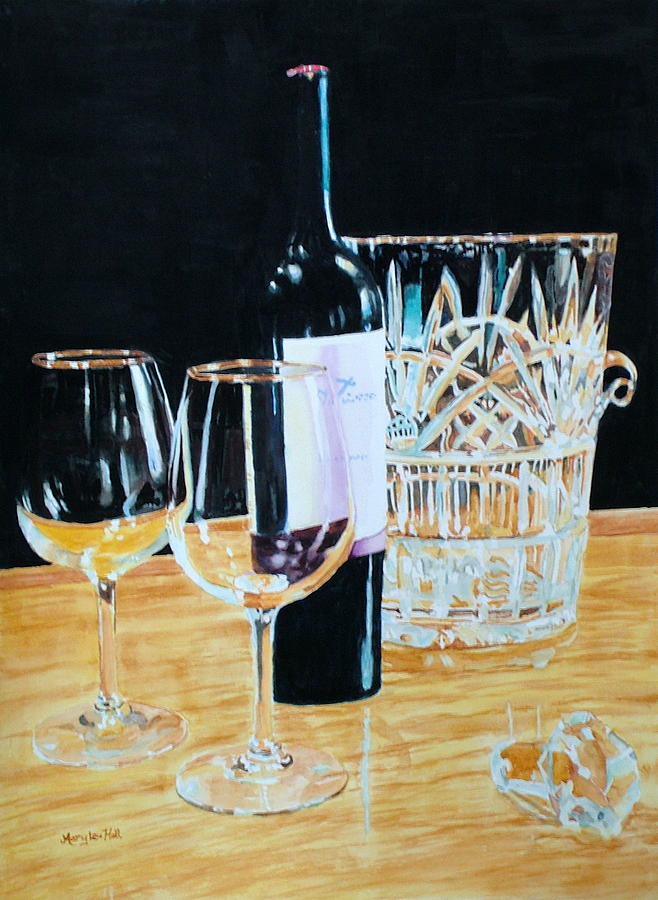 Glass Painting - Glass Wood And Light And Wine by Mary Lou Hall