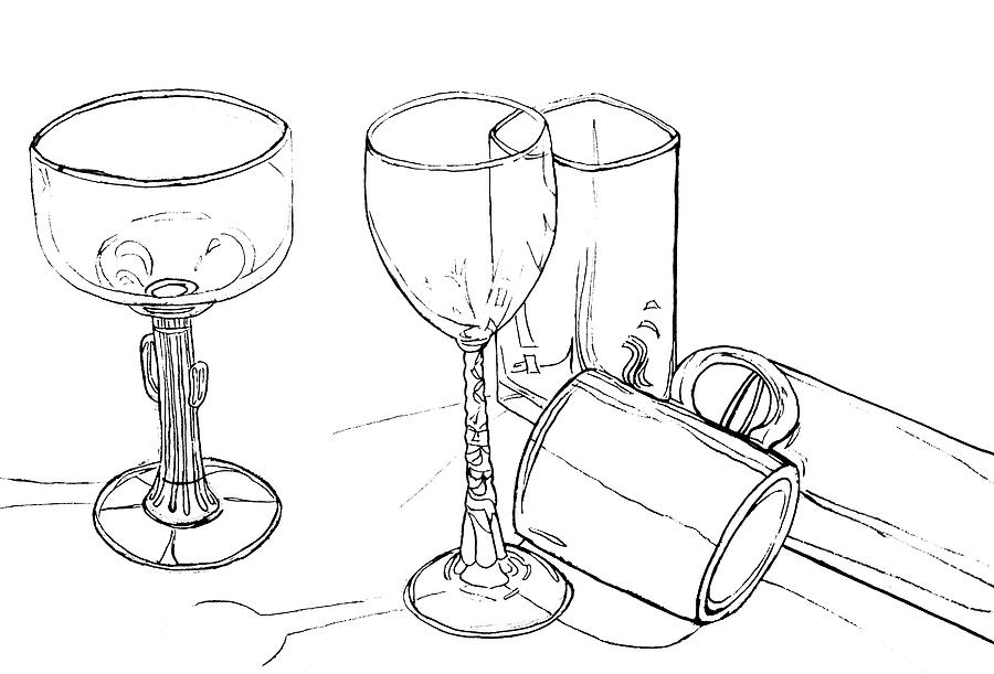 Contour Line Drawing Drawing - Glasses by Jean Haynes