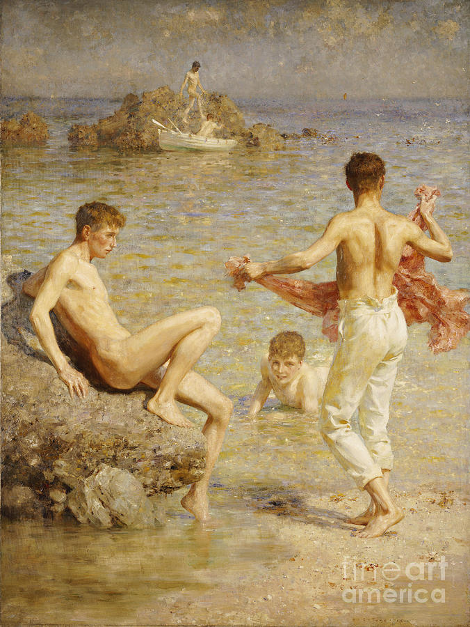 Gleaming Waters Painting - Gleaming Waters by Henry Scott Tuke