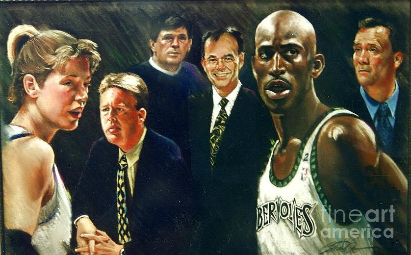 Katie Smith Drawing - Glen Taylor - Pastel Portrait Painting Minnesota Professional Basketball  by Mark Sanislo