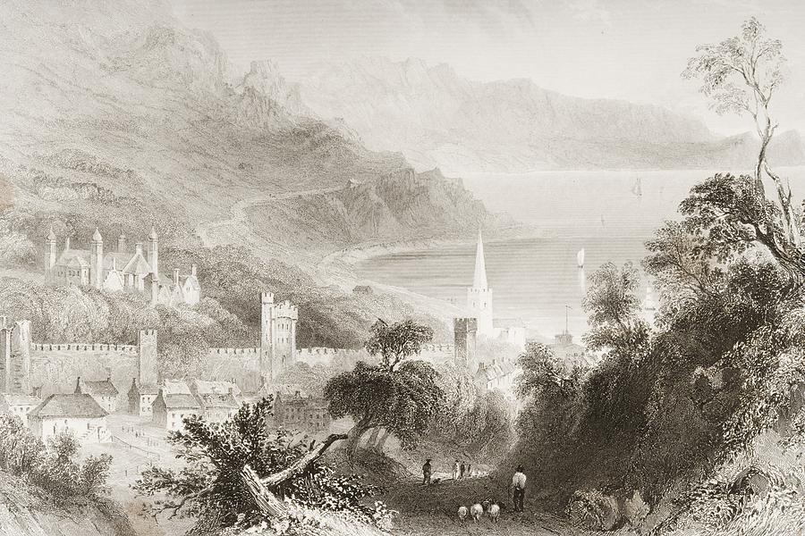Castle Drawing - Glenarm, County Antrim, Ireland. Drawn by Vintage Design Pics