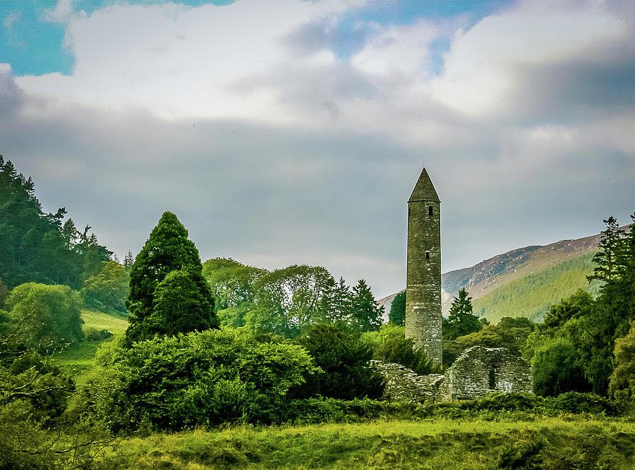 Glendalough Tower Ireland by John A Megaw