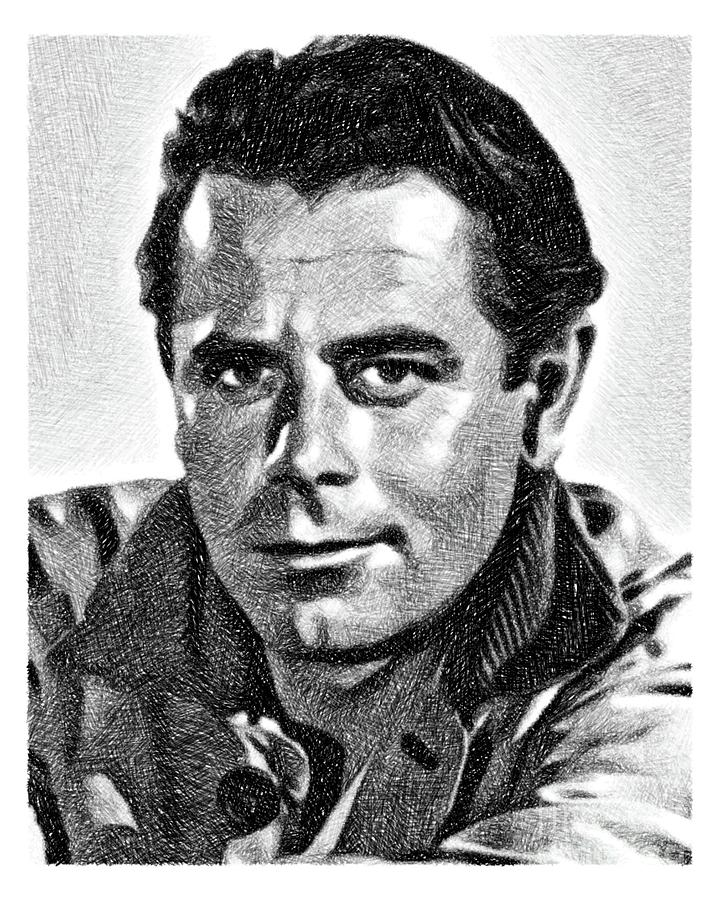 Glenn Ford, Vintage Actor By Js Drawing