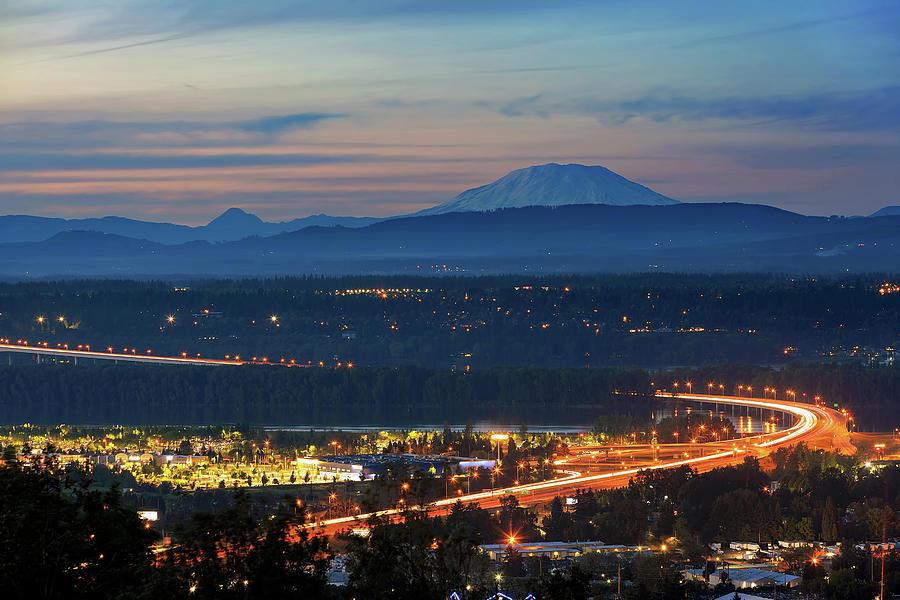 Segmental Photograph - Glenn L Jackson Bridge And Mount Saint Helens After Sunset by David Gn