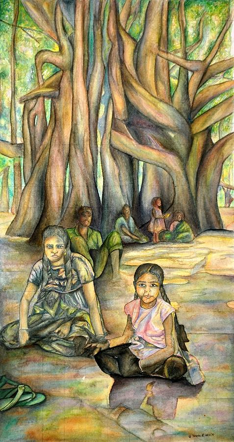 Children Painting - Glimmer of Hope by Joseph Lawrence Vasile