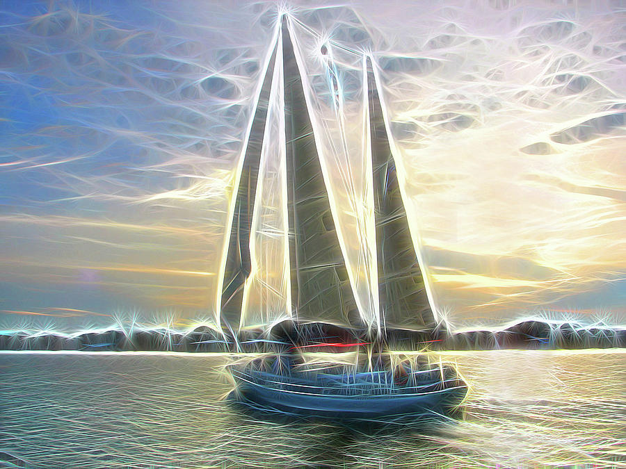 Sailboat Photograph - Glimmering Sailboat by Ella Char