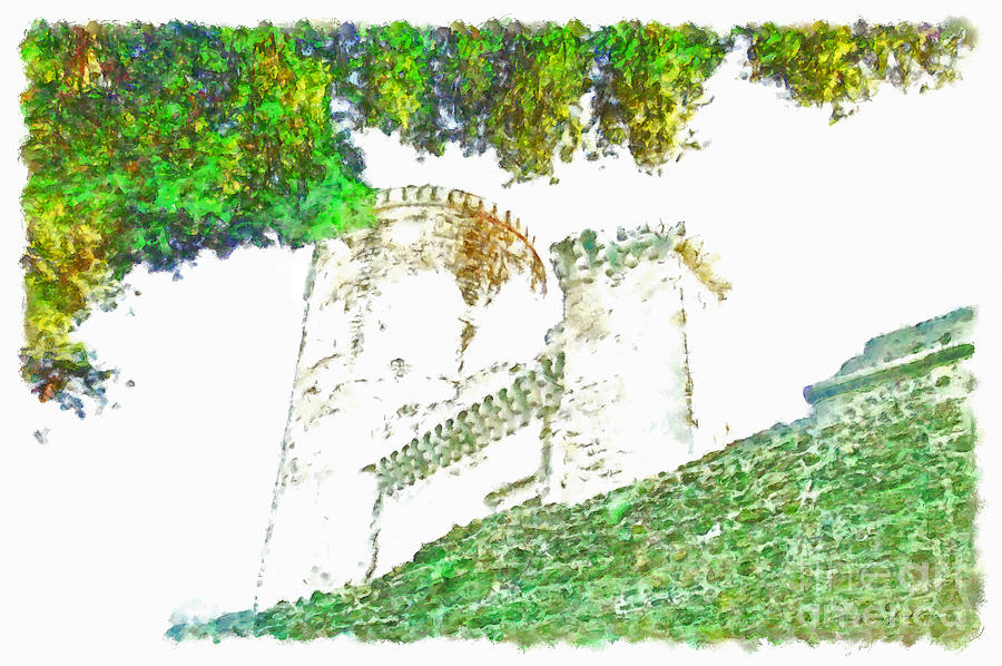Glimpse Painting - Glimpse Of The Castle Walls And Towers by Giuseppe Cocco