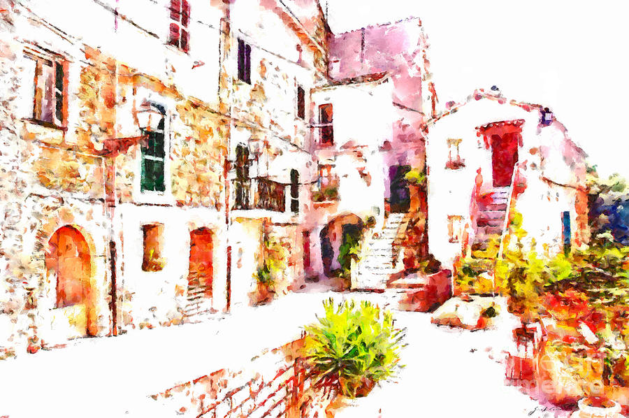 Glimpse Painting - Glimpse Of The External Houses Of The Village by Giuseppe Cocco