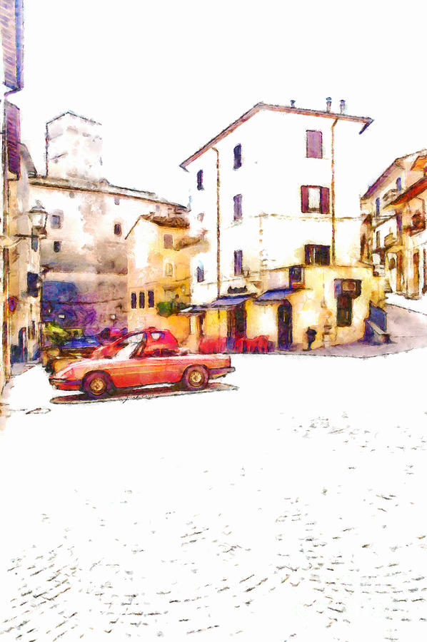 Foreshortening Painting - Glimpse With Cars by Giuseppe Cocco