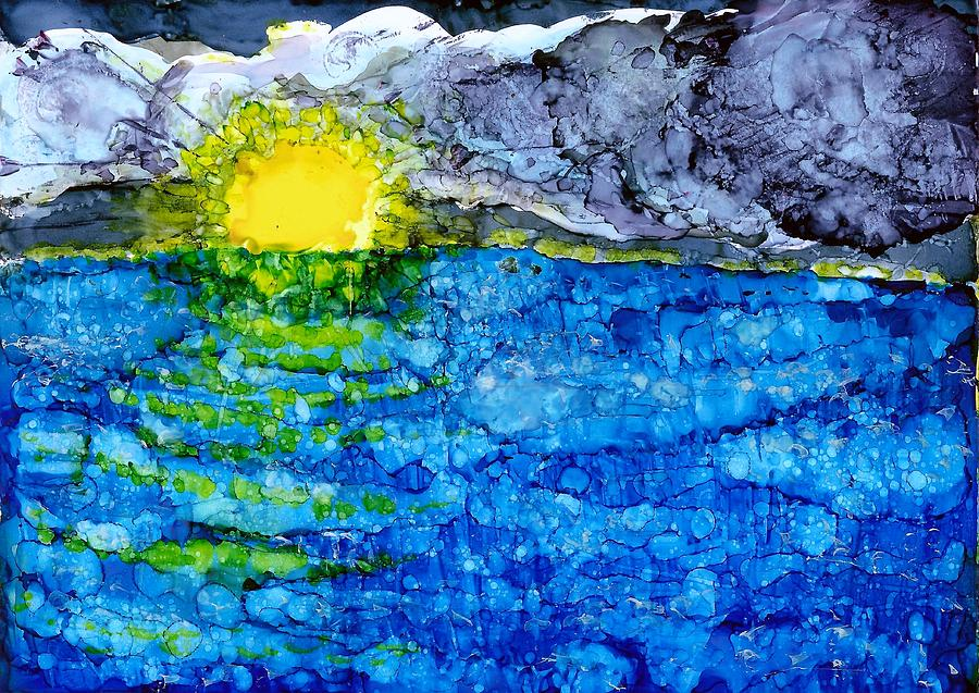 Sunset Painting - Glistening by Joy Dorr