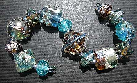 Glistening Metallic Jewels Glass Art by Karen Leonardo