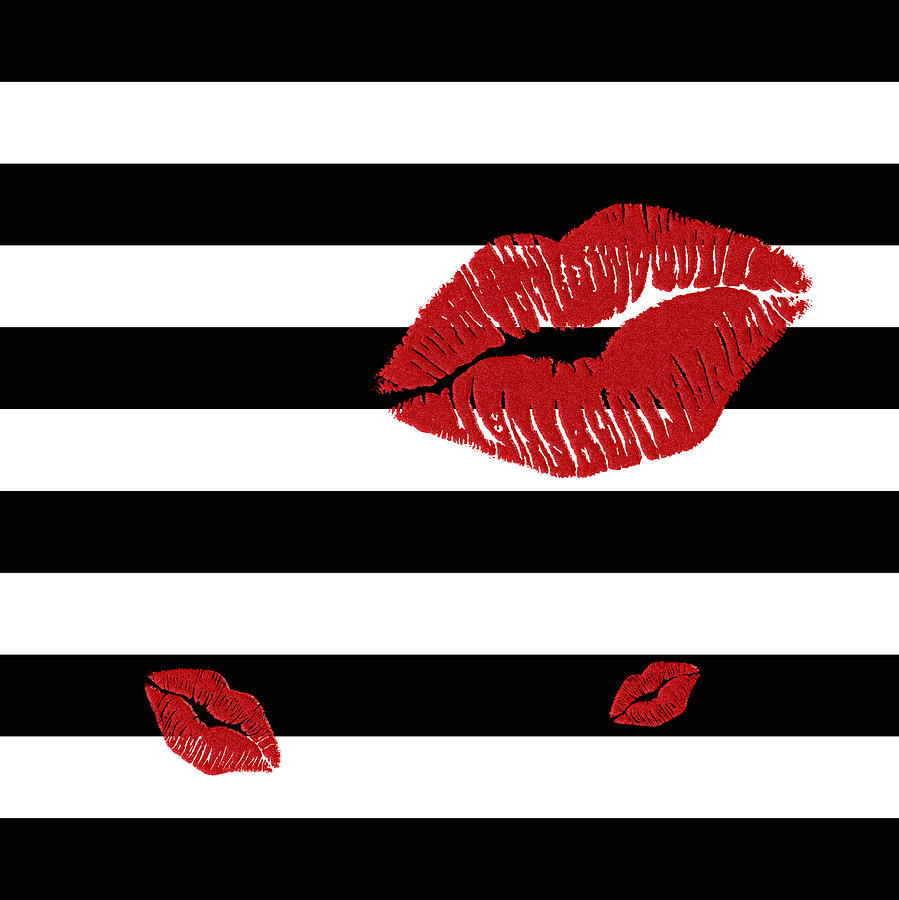 Black and white stripes painting glitter red lips on black and white stripes by georgeta