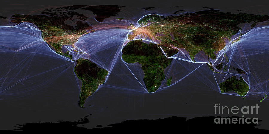 Planet Photograph - Global Transportation Map by Felix PD and Globaia