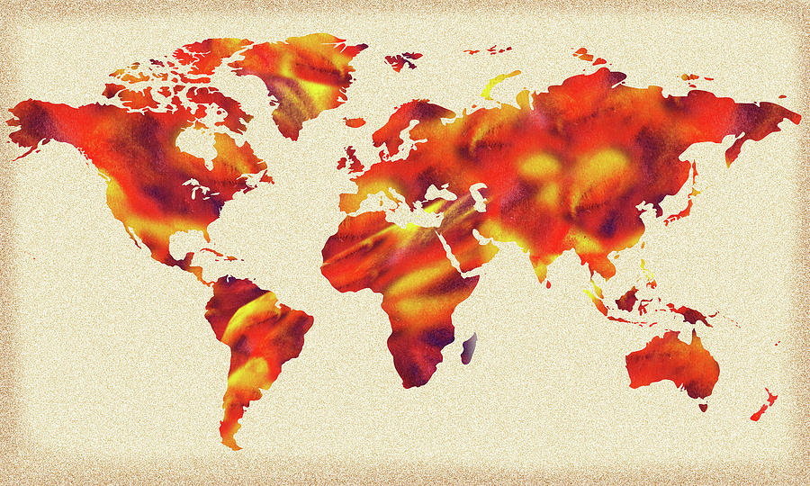 Global Warming Watercolor Map Of The World Painting by Irina Sztukowski