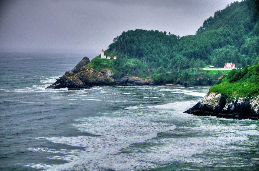 Beach Photograph - Gloomy Heceta Lighthouse  by Connie Cooper-Edwards