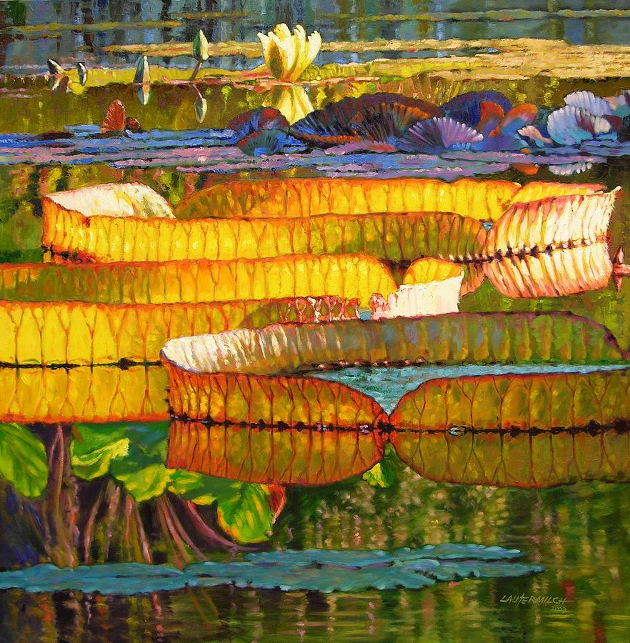Garden Pond Painting - Glorious Morning Lilies by John Lautermilch