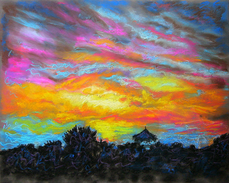Landscape Painting - Glorious Sunset 1 by Laura Heggestad
