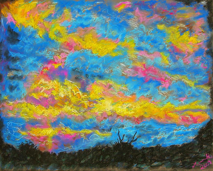 Landscape Drawing - Glorious Sunset 2 by Laura Heggestad