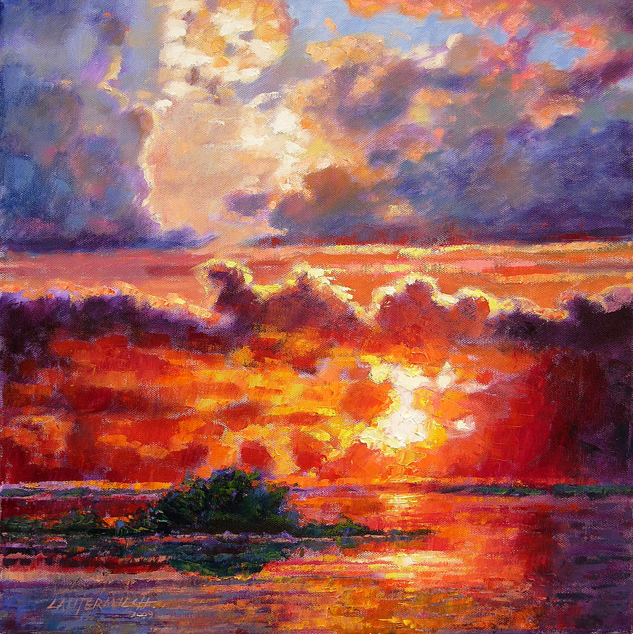 Sunset Painting - Glorious Sunset  by John Lautermilch