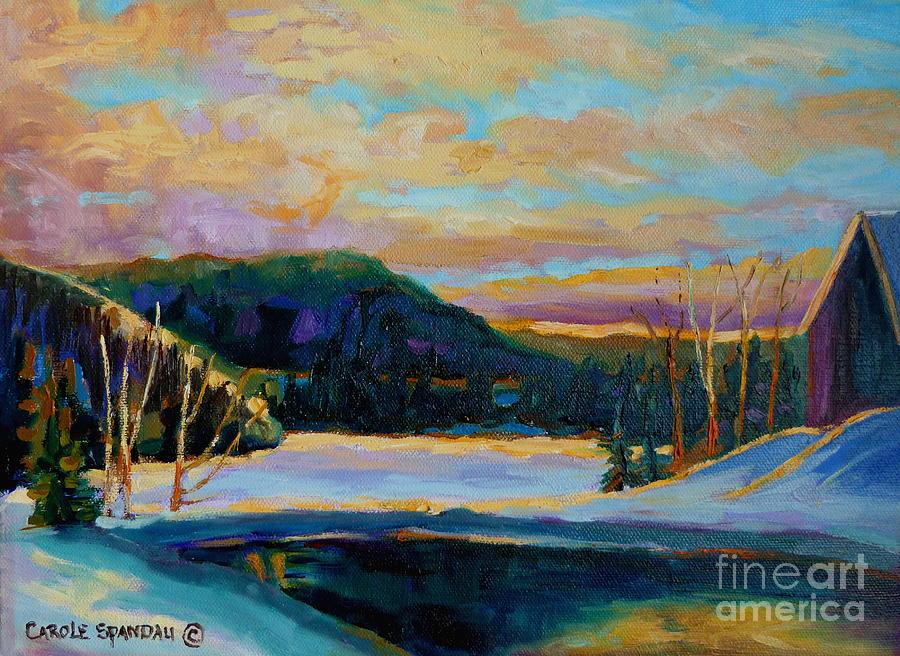 Vermont Painting - Glorious Winter Sunrise by Carole Spandau