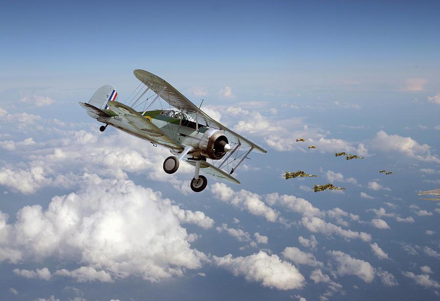 Aircraft Digital Art -   Gladiator - Malta Defiant by Pat Speirs