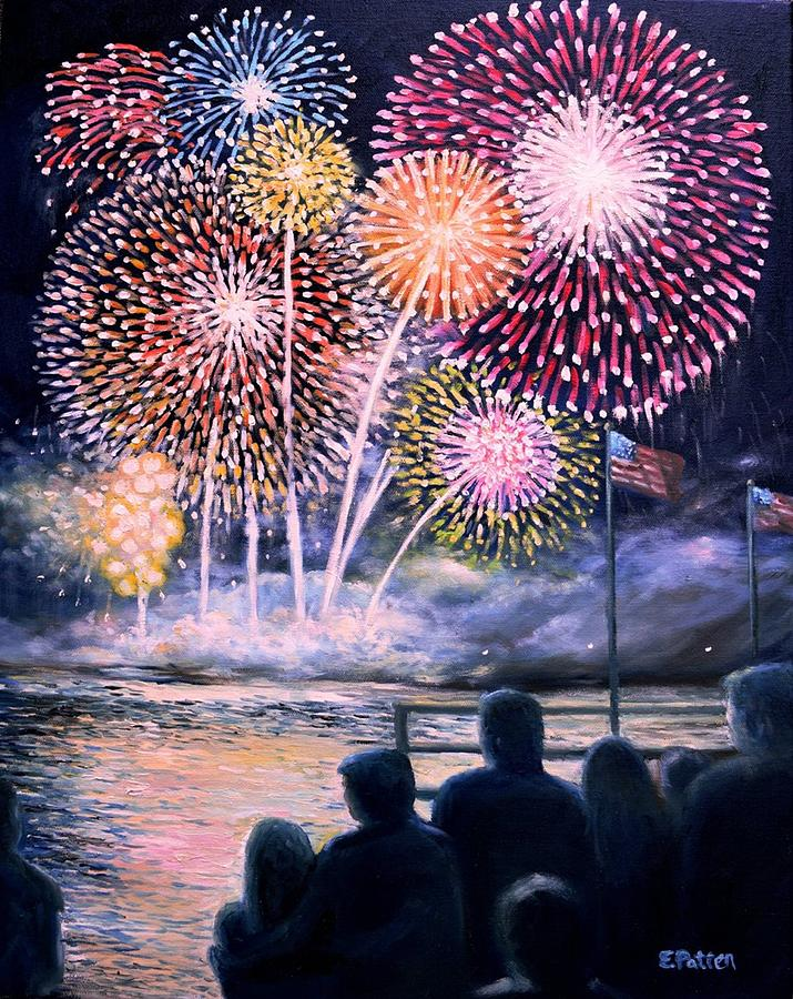 Gloucester Fireworks Painting By Eileen Patten Oliver