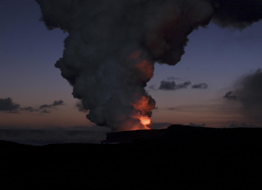 Hawaii Volcanoes Photograph - Glow From Lava On Hawaii by Brendan Reals